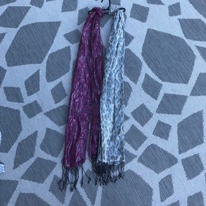 Accessories - (2) metallic colored scarves leopard print design
